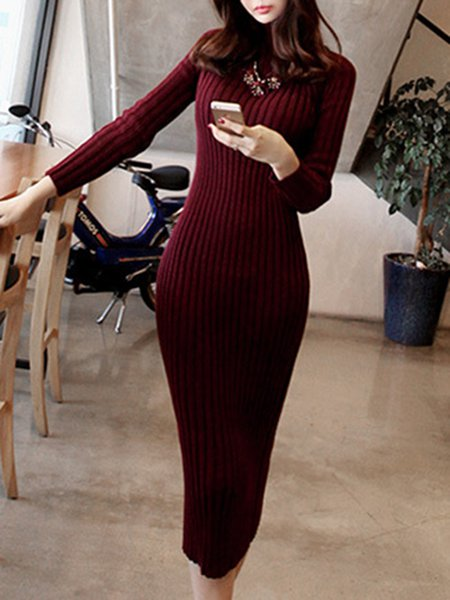 Long Sleeve Knitted Simple Dress
