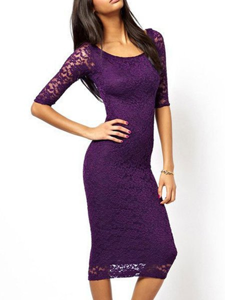 Simple Solid Bodycon 3/4 Sleeve Dress