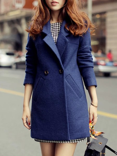 Navy Blue Buttoned Wool Blend Simple Coat
