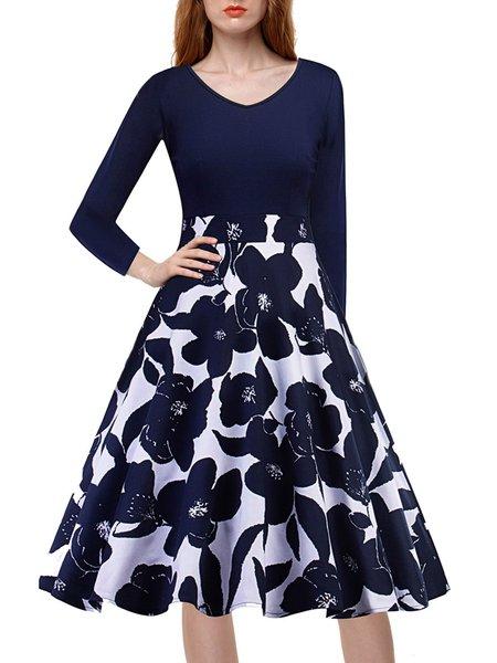 Long Sleeve Elegant Cotton-blend Dress