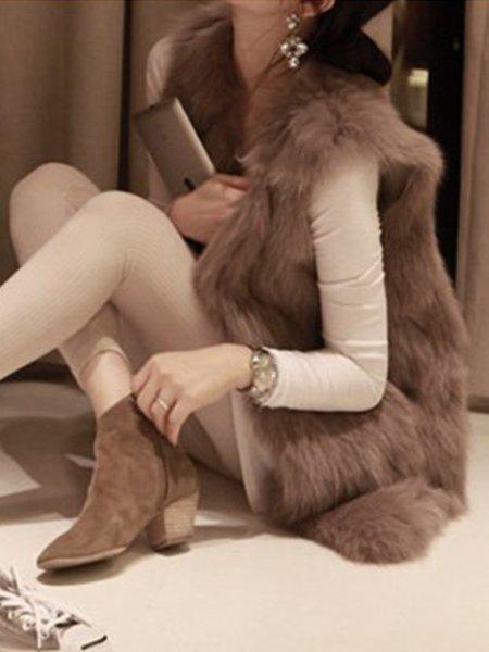 Solid Faux Fur Sleeveless Simple Vest Coat