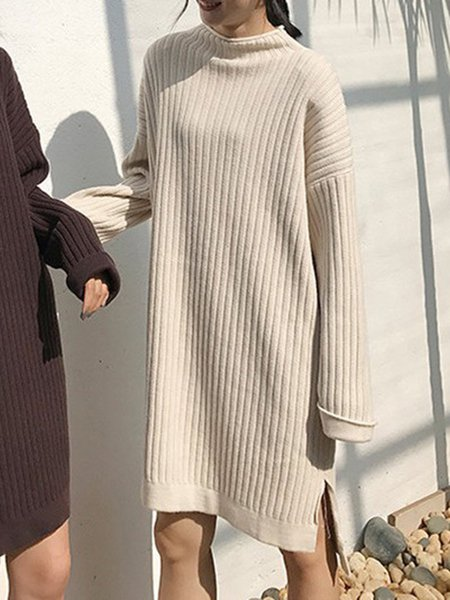 Simple Long Sleeve Solid Dress