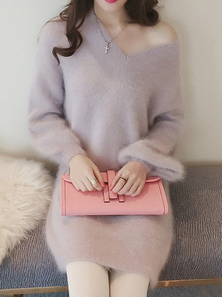 V Neck Solid Simple Long Sleeve Fluffy Sweater