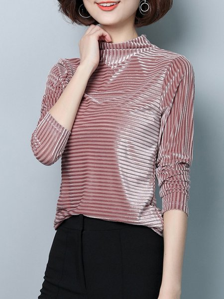 Simple Turtleneck Polyester Stripes Long Sleeve T-Shirt