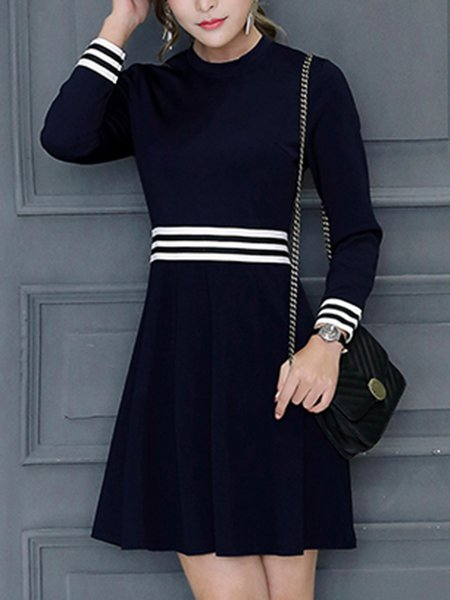 Black A-line Long Sleeve Polyester Dress