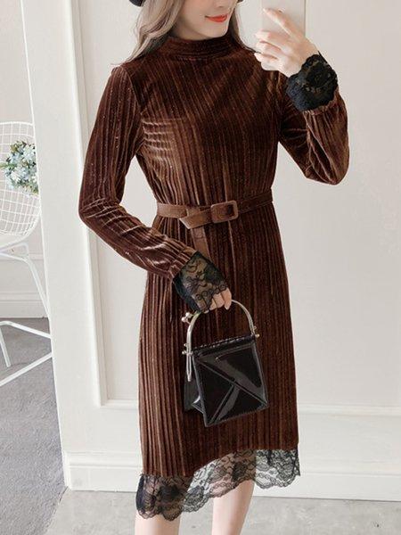 Velvet Elegant Stand Collar Long Sleeve Dress