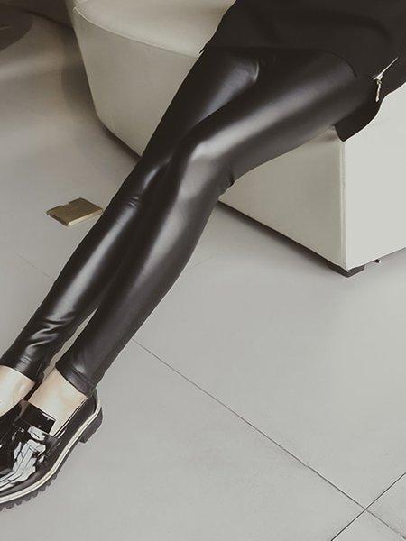 Black Skinny Pants Sexy Solid PU Leggings