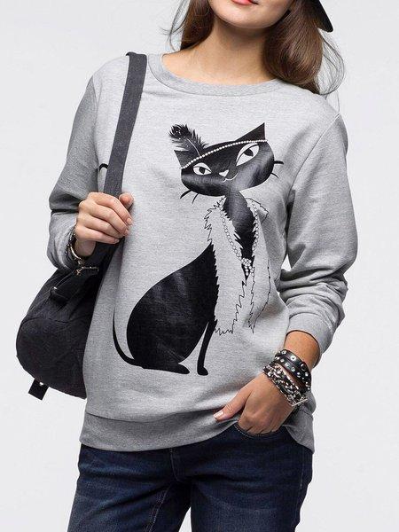 Simple Animal Long Sleeve Crew Neck Cotton-blend Sweatshirt