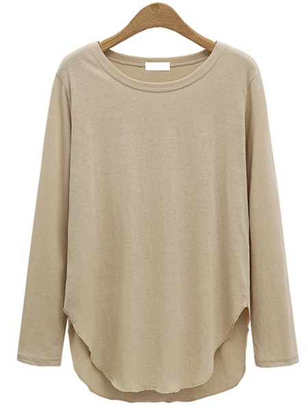 Simple Cotton-blend Long Sleeve Solid T-Shirt