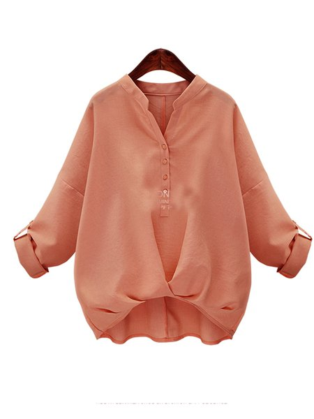 Casual Cotton-blend Solid 3/4 Sleeve Blouse
