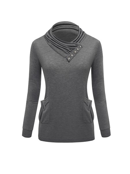 Long Sleeve Simple Solid Cowl Neck Cotton-blend Sweatshirt