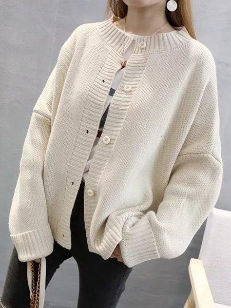 Simple Solid Long Sleeve Cardigan
