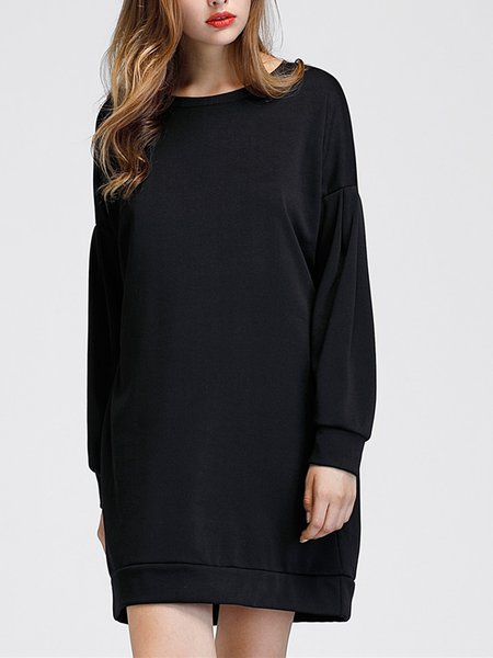 Black Crew Neck Simple Cotton-blend Solid Dress