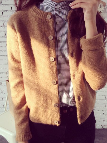 Long Sleeve Buttoned Simple Solid Crew Neck Cardigan