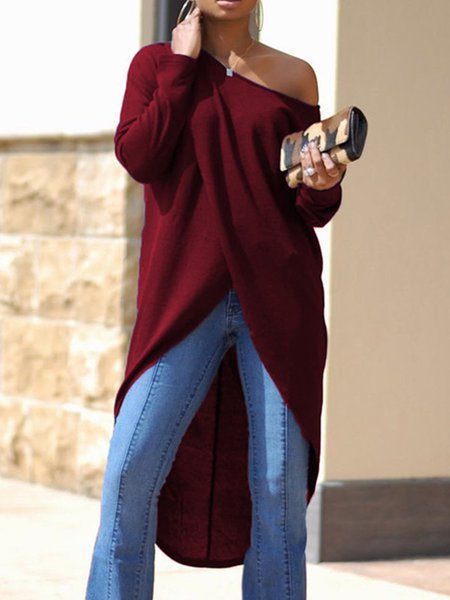 Sexy One Shoulder Long Sleeve Solid Tunic Top