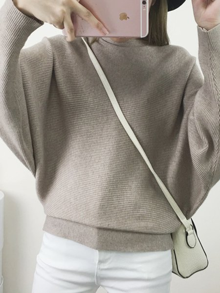 Crew Neck Simple Batwing Solid Knitted Sweater