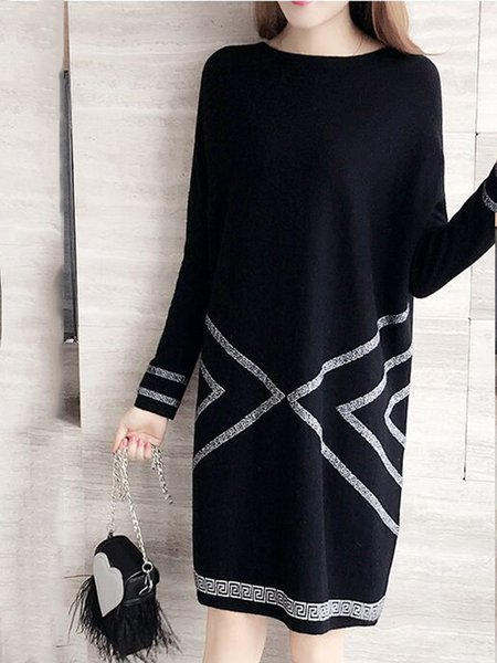 Black Knitted Long Sleeve Cotton Dress