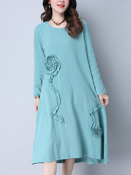 Swing Crew Neck Long Sleeve Appliqued Dress