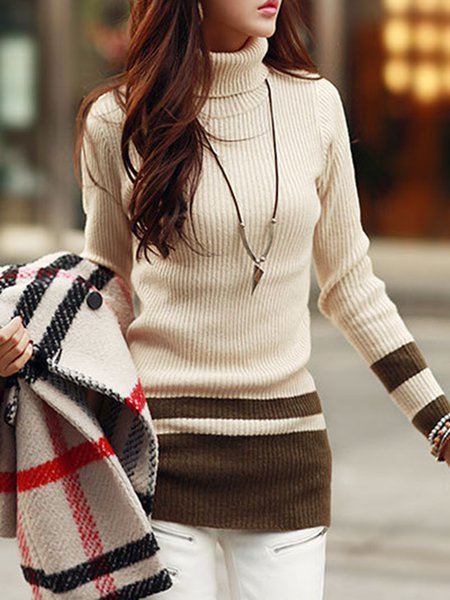 Long Sleeve Simple Solid Knitted Sweater