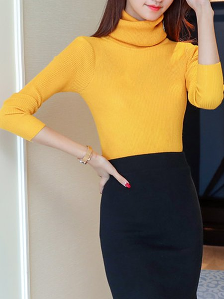 Long Sleeve Cotton-blend Knitted Turtleneck Sweater