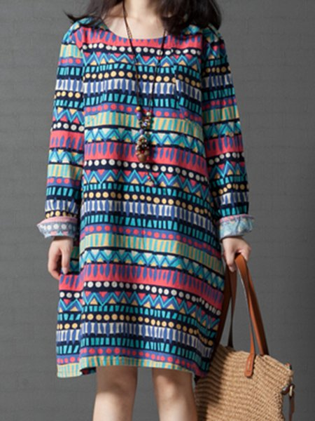 Casual Printed Long Sleeve Crew Neck Dress