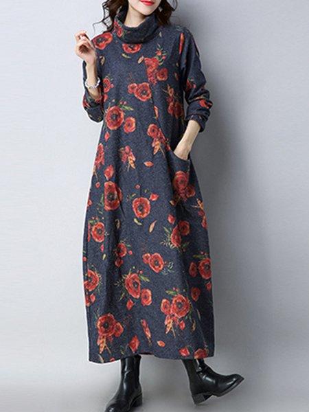 Long Sleeve Turtleneck Casual Printed Floral Dress