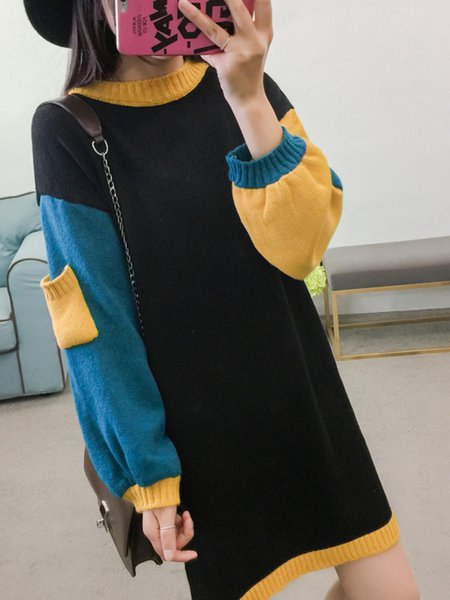 A-line Long Sleeve Casual Solid Dress