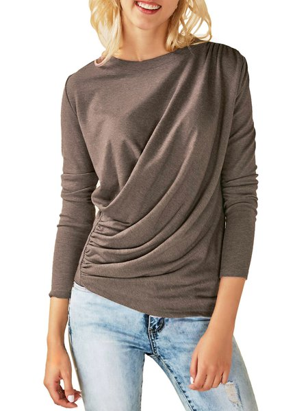 Fashionable Draped Long Sleeves Casual Solid T-Shirt
