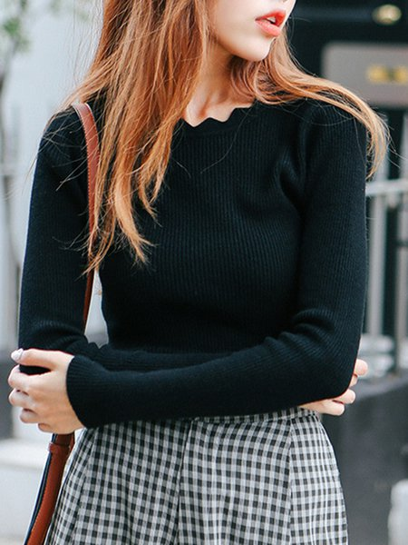 Simple Long Sleeve Solid Sweater