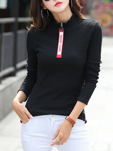 Long Sleeve Simple Ribbed Cotton-blend Sweater