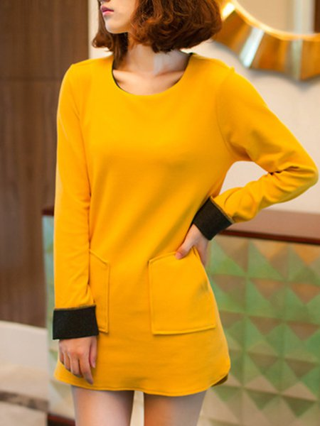 Solid Crew Neck Long Sleeve Simple Paneled Tunic Top