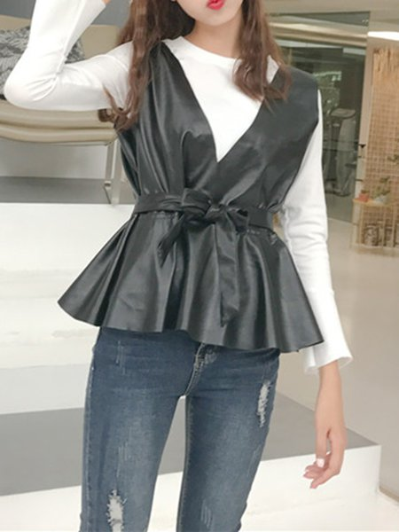 V Neck Sleeveless Solid Leather Simple Vest