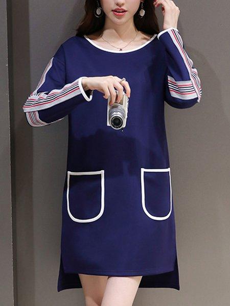 Navy Blue Crew Neck Long Sleeve Dress