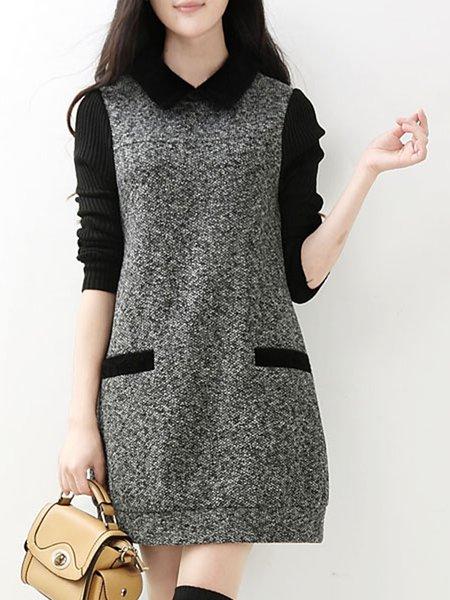 Simple A-line Long Sleeve Dress