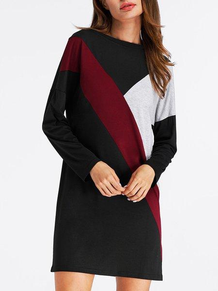 Black Long Sleeve Slash Neck Cotton-blend Dress