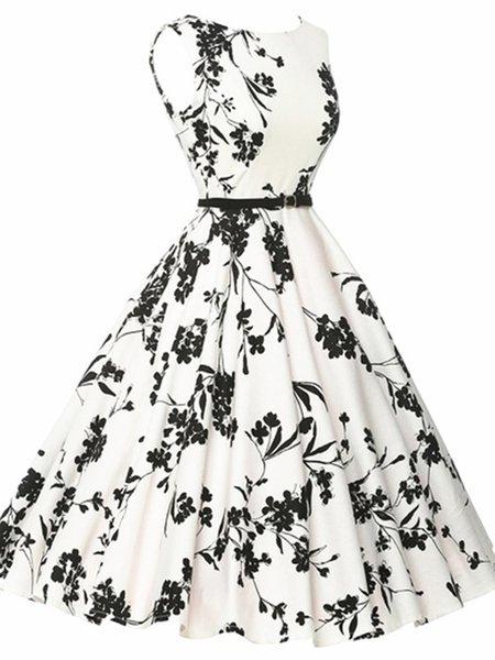 Sleeveless Wool Blend Floral Crew Neck Dress