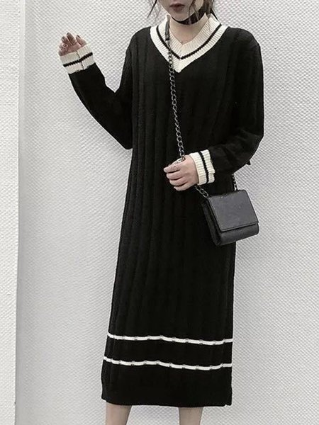Paneled Knitted Long Sleeve Solid Dress