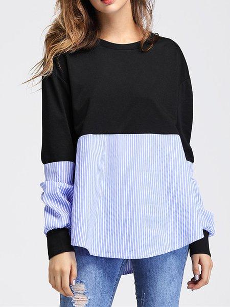 Simple Long Sleeve Stripes Sweatshirt