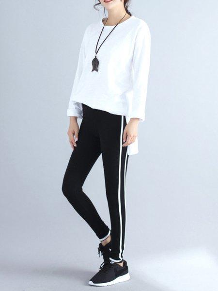 Black Sports Binding Stripes Cotton Pants