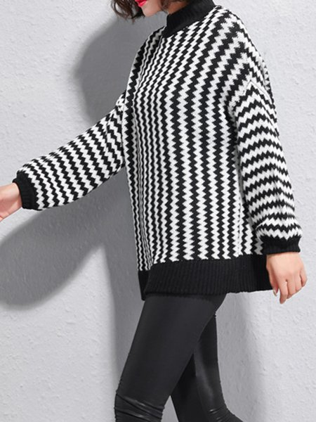 Black White Stripes Long Sleeve Crew Neck Knitted Sweater