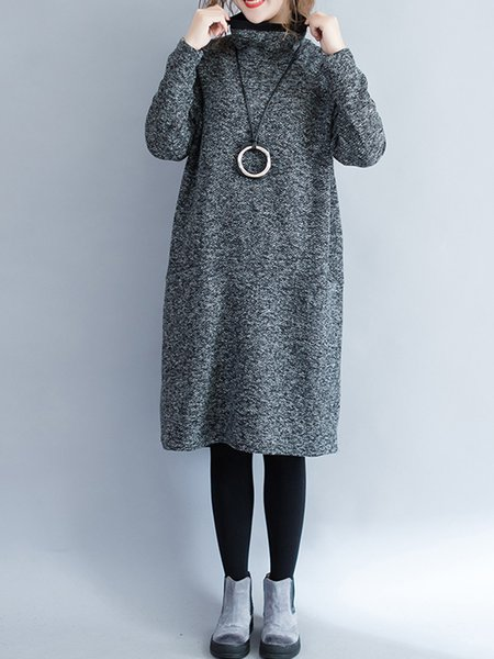 Gray Turtleneck Double Pockets Plain Casual Dress