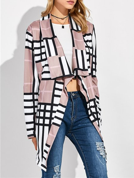 Pink Long Sleeve Houndstooth Coat