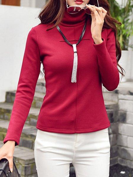 Simple Turtleneck Cotton-blend Long Sleeve T-Shirt