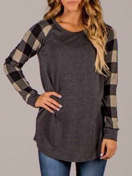 Simple Checkered/Plaid Crew Neck Paneled T-Shirt