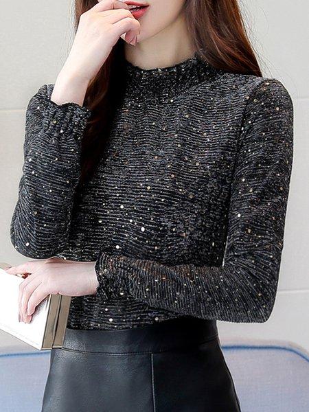 Turtleneck Long Sleeve Elegant Polka Dots Cotton-blend T-Shirt