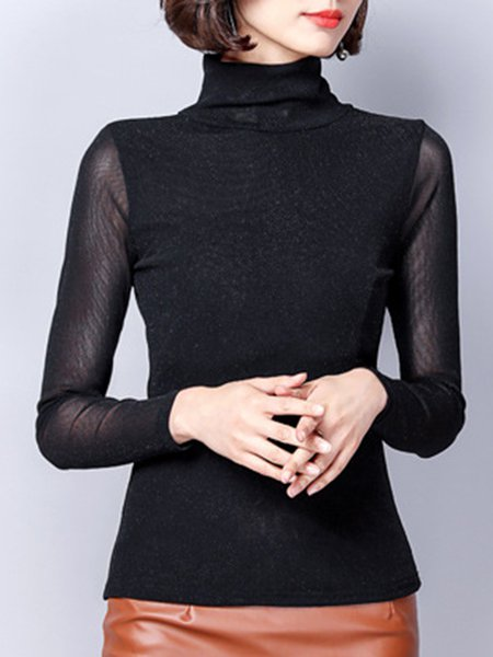 See-through Look Long Sleeve Elegant Cotton-blend Solid T-Shirt