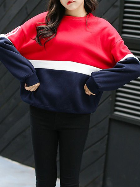 Cotton-blend Simple Long Sleeve Color-block Sweatshirt