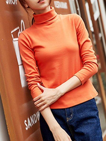Cotton-blend Simple Long Sleeve Turtleneck Solid T-Shirt