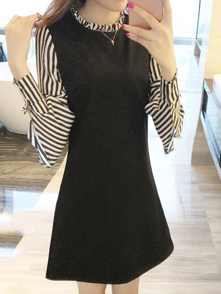 Black A-line Stand Collar Elegant Paneled Dress