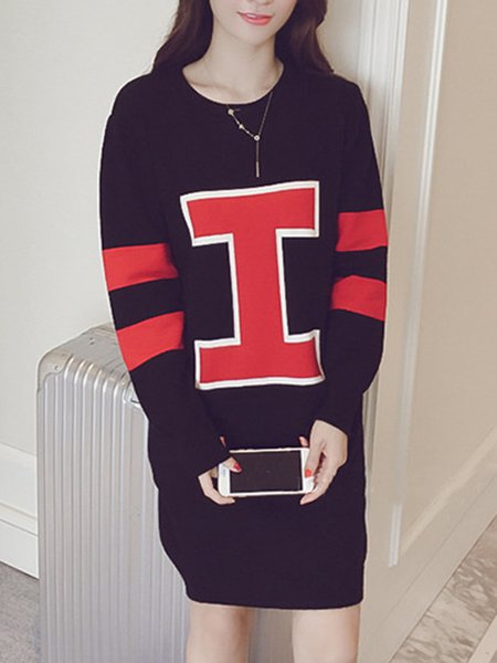 Casual Long Sleeve Printed Polyester Dress